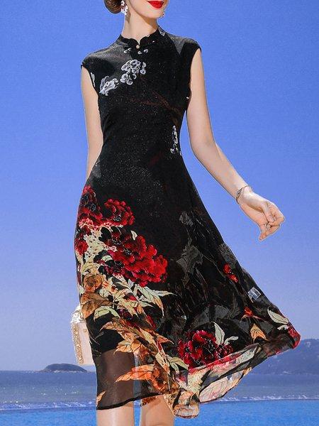 Stand Collar Black Midi Dress Daytime Holiday Floral Dress