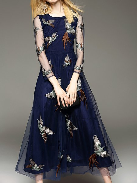 Maxi Dress A-line Daytime Embroidered Animal Dress