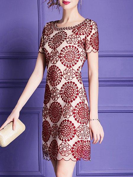 Midi Dress Sheath Date Short Sleeve Floral Dress