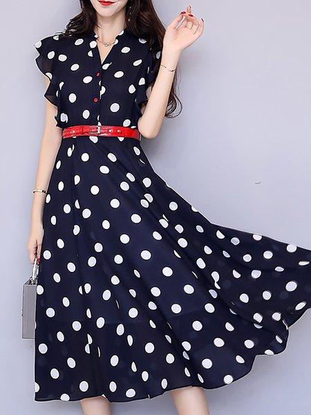 V neck  Midi Dress Sweet Printed Dress