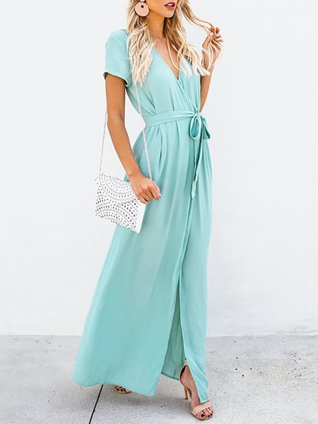Surplice Neck  Maxi Dress Beach Short Sleeve Wrap Dress