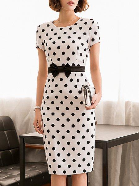 Midi Dress Daytime Short Sleeve Vintage Dress