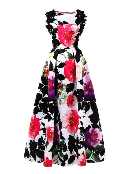 Multicolor Maxi Dress Ball Gown Party Elegant Floral Dress