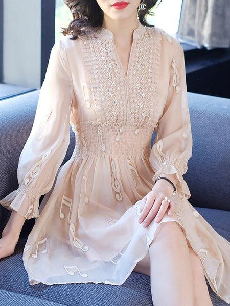 V neck Apricot Midi Dress Date Long Sleeve Plain Dress