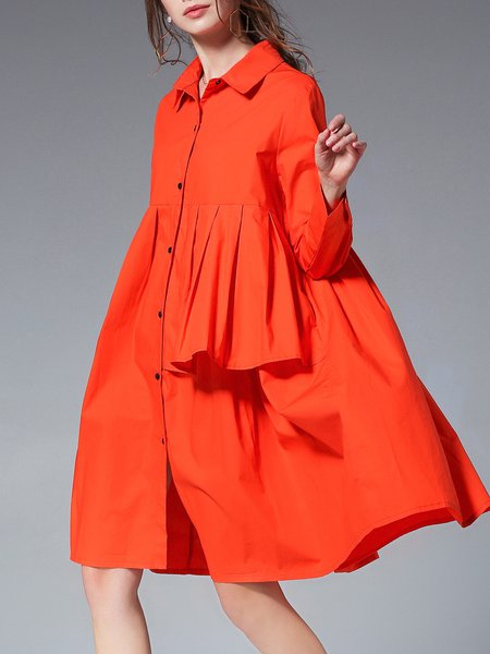 Shirt Collar  Midi Dress Shift Daytime Long Sleeve Asymmetric Dress