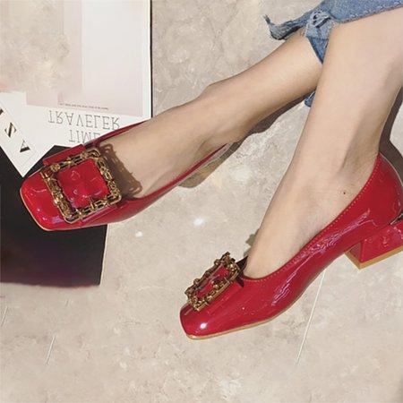 Date Rivet Square Toe Chunky Heels