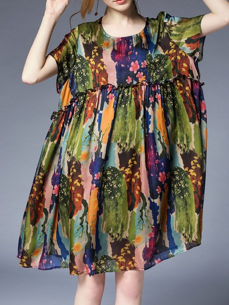Midi Dress Shift Daytime Short Sleeve Floral Dress