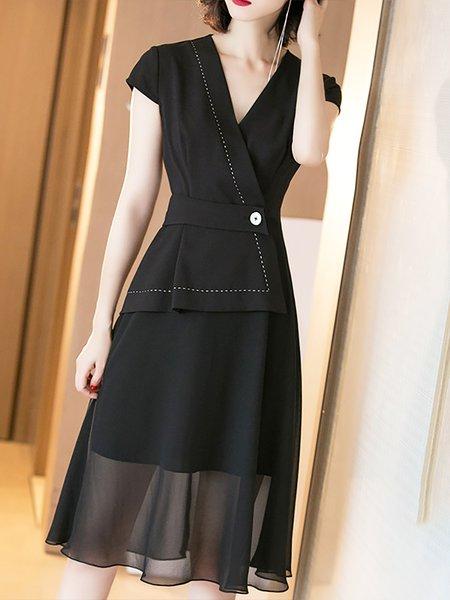 Surplice Neck Black Midi Dress Work Short Sleeve Solid Dress