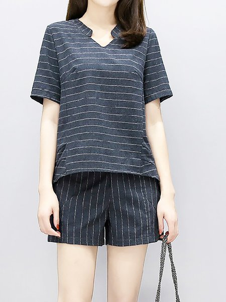 Two Piece Short Sleeve V neck Striped top with pants