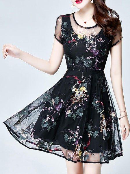 Black Midi Dress Date Embroidered Floral Dress
