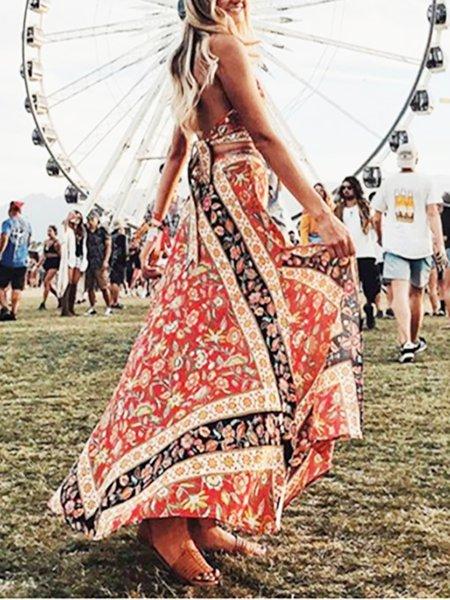 Multicolor Maxi Dress Beach Half Sleeve Tribal Dress