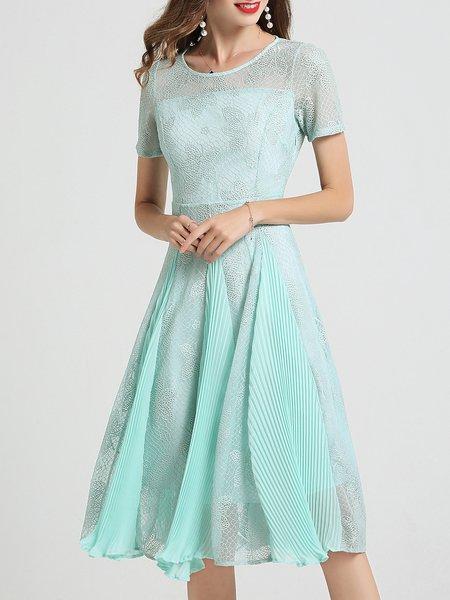 Midi Dress Swing Short Sleeve Guipure lace Dress