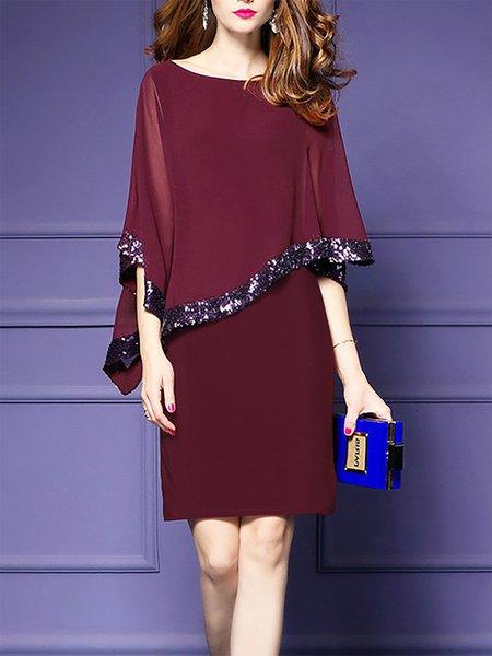 Midi Dress Daytime Cape Sleeve Asymmetric Dress