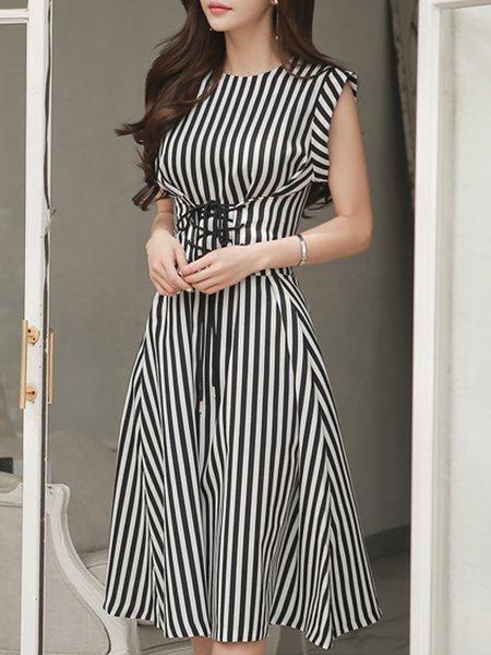 Black-white Midi Dress Date Sleeveless Lace up Dress