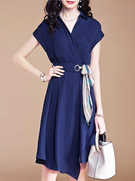Dark blue Midi Dress Date Asymmetric Solid Dress