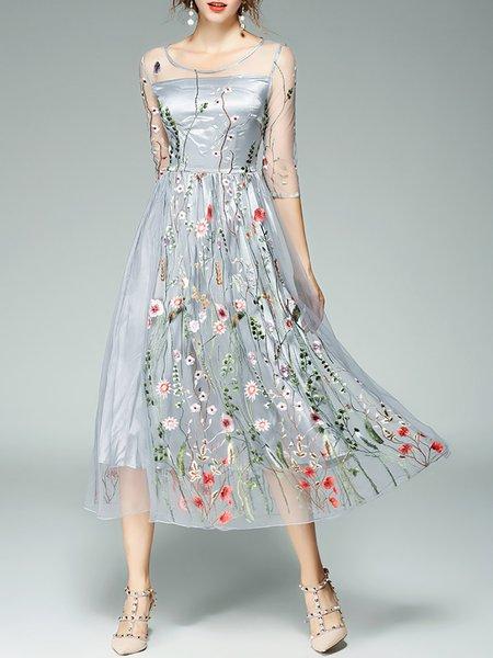 Floral mesh back maxi dress white color