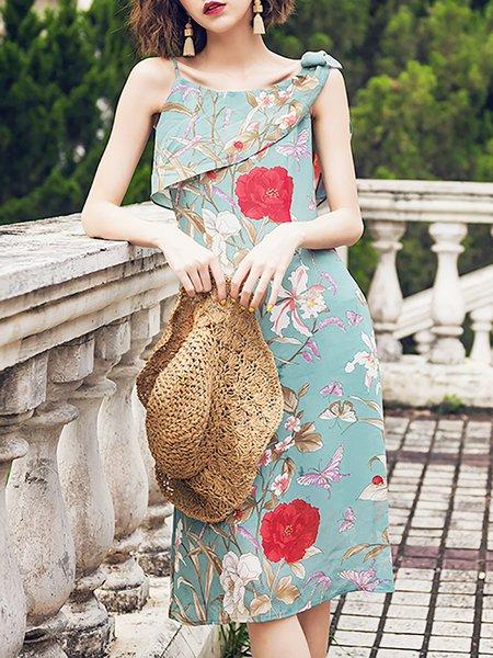 Spaghetti Midi Dress Date Sleeveless Casual Dress