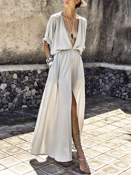 Midi Dress Swing Date Short Sleeve Sexy Dress