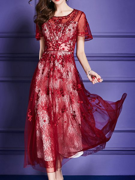 Maxi Dress Party Embroidered Plain Dress