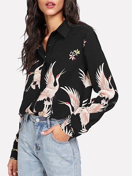Casual Print Button Up Blouse