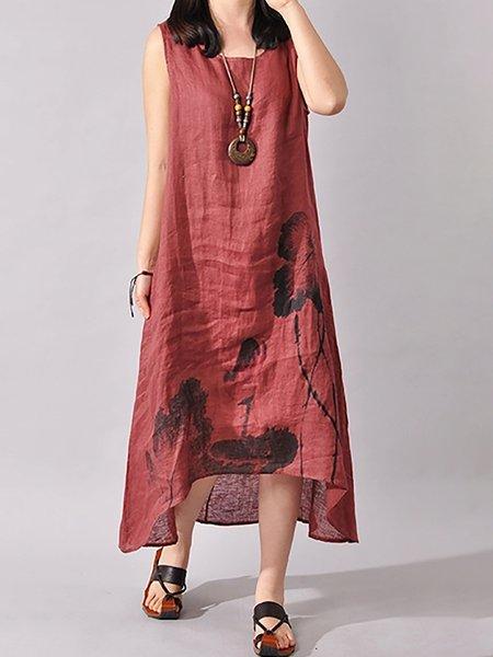 Casual Sleeveless Cotton Floral-print Asymmetrical Dress