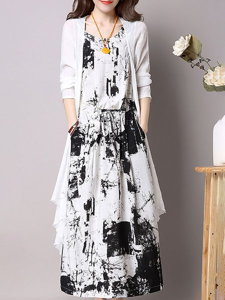 Abstract Printed Linen Dress With Coat