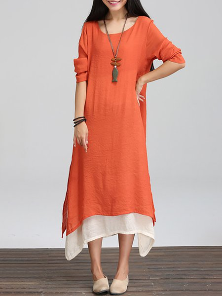 Excellent Stylewe Plus Size Linen Dress Asymmetrical Dress Long Sleeve  MC18