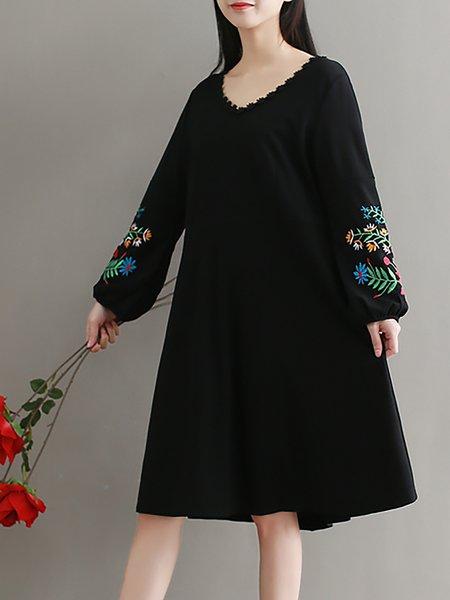 V Neck Linen Dress