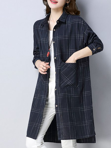 Navy Blue Checkered/Plaid Printed Pockets Linen Top