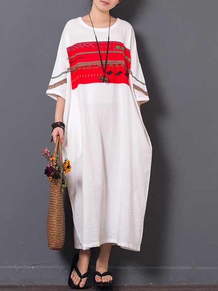 Plus Size Casual Short Sleeve Embroidered Shift Patch Linen Dress