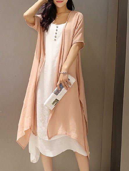 Linen Dress Two Piece Short Sleeve Cotton Dress