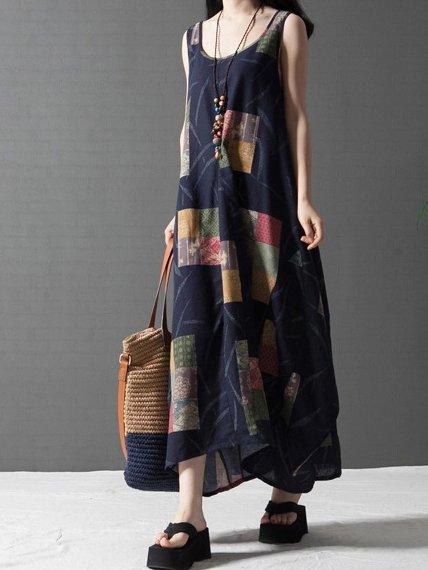Navy Blue Linen Dress Cocoon Daily Cotton-blend Printed Dress