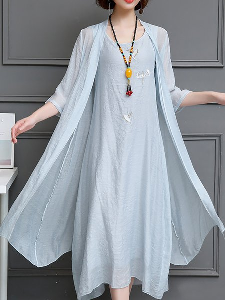 Linen Dress Two Piece Half Sleeve Cotton Dress
