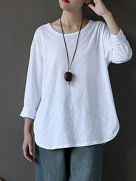 White Cotton-blend Solid Top