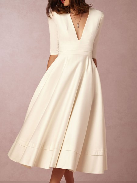 V neck Tea Length Wedding Dresses