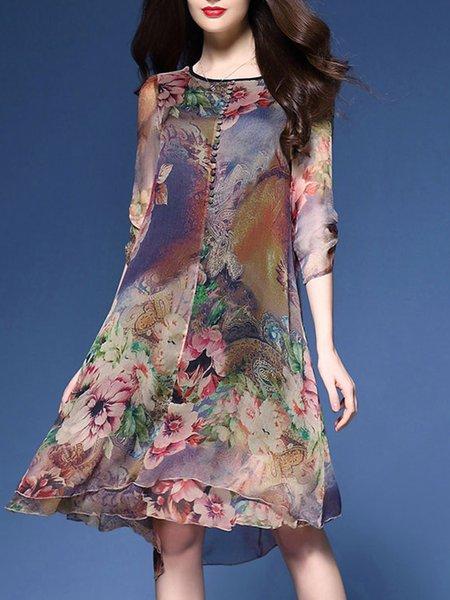 Multicolor Printed Floral Buttoned Plus Size Dress