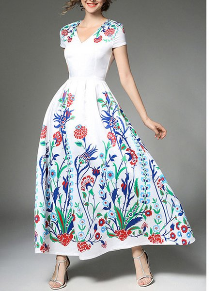 White V Neck Floral Printed Maxi Dress
