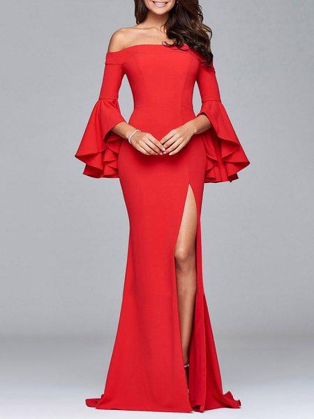 Bell Sleeve Off Shoulder Solid Slit Maxi Dress