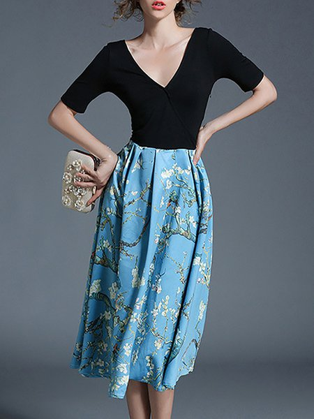 Printed V Neck Floral Paneled Midi Dress