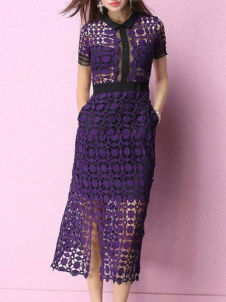 Paneled Guipure lace Slit Midi Dress