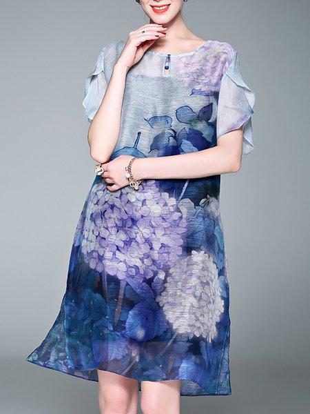 Printed Floral Shift Midi Dress
