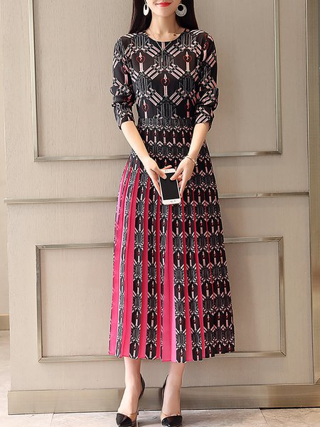 Multicolor Maxi Dress Daytime Long Sleeve Paneled Dress