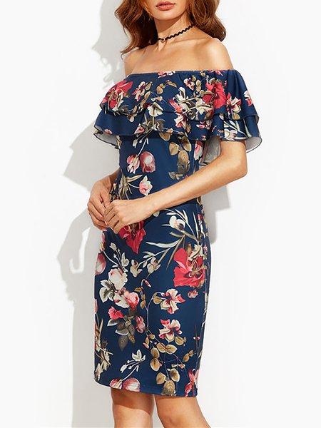 Off Shoulder Midi Dress Sheath Date Cape Sleeve Floral Dress