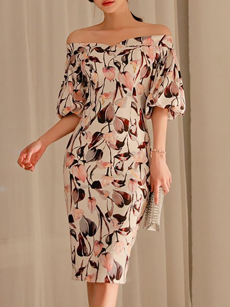 Off Shoulder Multicolor Midi Dress Sheath Balloon Sleeve Floral Dress