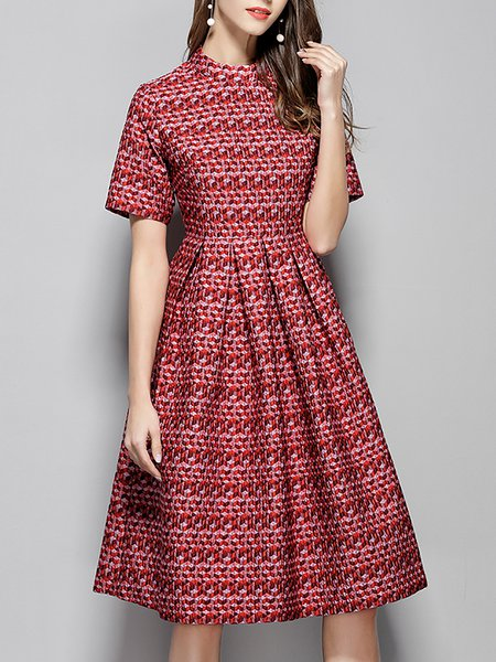 Stand Collar Red Midi Dress A-line Short Sleeve Printed Dress