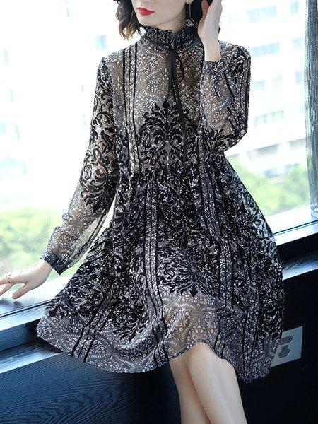 Plus Size Bow Printed Stand Collar Midi Dress
