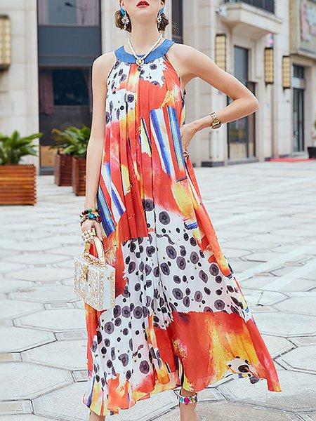 Multicolor Maxi Dress Shift Sleeveless Holiday Dress