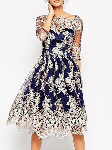 Blue Midi Dress A-line Daytime 3/4 Sleeve Vintage Dress