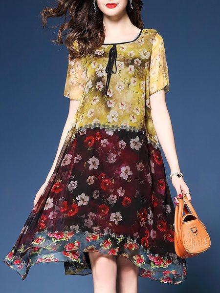Plus Size Floral Printed Midi Dress
