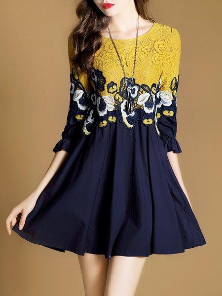 Blue Mini Dress Daytime 3/4 Sleeve Paneled Dress